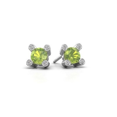 Picture of Stud earrings Cornelia Round 925 silver peridot 6 mm