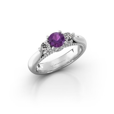 Engagement ring Tiffani 585 white gold amethyst 5 mm