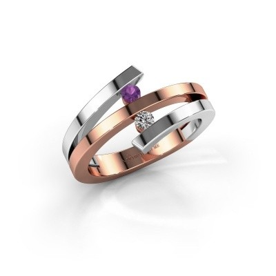 Ring Synthia 585 rosé goud amethist 2.5 mm