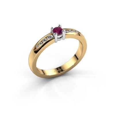 Verlovingsring Zohra 585 goud rhodoliet 3 mm