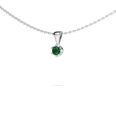 Foto van Ketting Fran 375 witgoud smaragd 3.4 mm