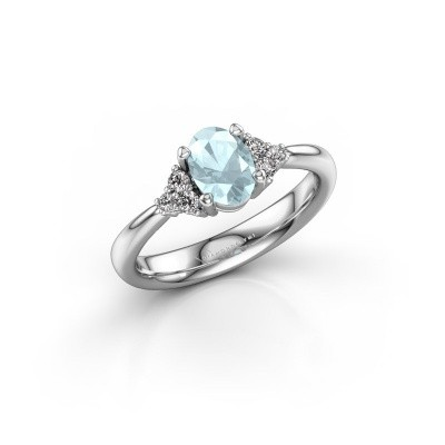 Picture of Engagement ring Aleida OVL 1 585 white gold aquamarine 7x5 mm