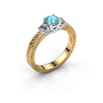 Verlovingsring Betty 1 585 goud blauw topaas 5 mm