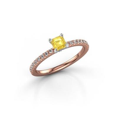 Foto van Verlovingsring Crystal ASS 2 585 rosé goud gele saffier 4.5 mm