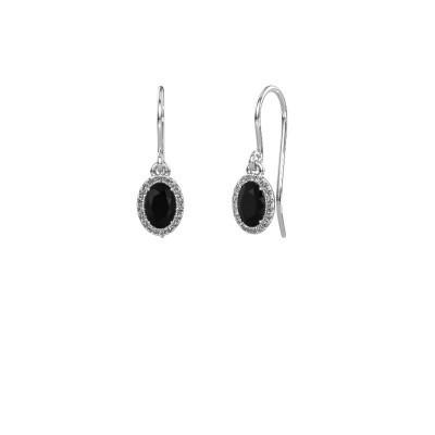 Foto van Oorhangers Seline 950 platina zwarte diamant 1.29 crt