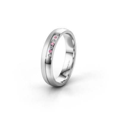 Wedding ring WH0216L24APM 950 platinum pink sapphire ±4x1.7 mm