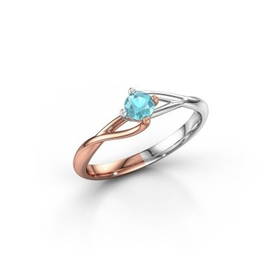 Picture of Engagement ring Paulien 585 rose gold blue topaz 4 mm