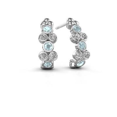 Earrings Kayleigh 950 platinum aquamarine 2.4 mm