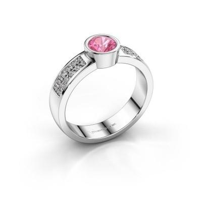 Verlovingsring Ise 3 585 witgoud roze saffier 4.7 mm