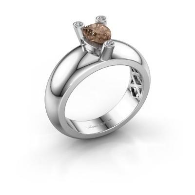 Ring Cornelia Pear 925 Silber Braun Diamant 0.65 crt