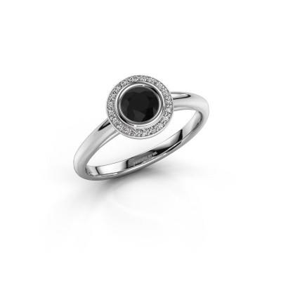 Promise ring Noud 1 RND 585 white gold black diamond 0.53 crt