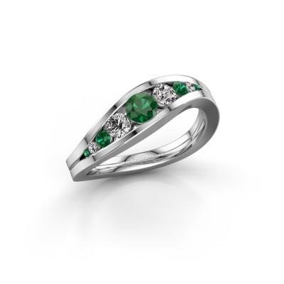 Bild von Ring Sigrid 2 585 Weissgold Smaragd 4 mm
