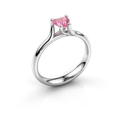 Verlobungsring Dewi Heart 585 Weißgold Pink Saphir 5 mm