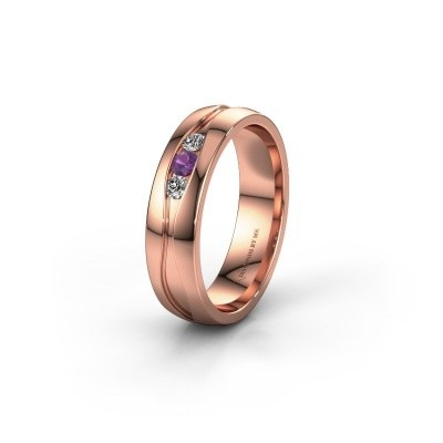 Wedding ring WH0172L25A 375 rose gold amethyst ±0.20x0.07 in