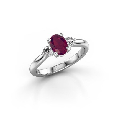 Picture of Engagement ring Lieselot OVL 925 silver rhodolite 6.5x4.5 mm