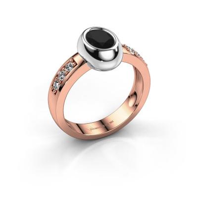 Ring Charlotte Oval 585 rose gold black diamond 1.23 crt
