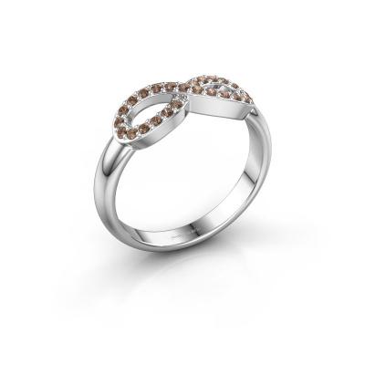 Ring Infinity 2 950 platina bruine diamant 0.188 crt