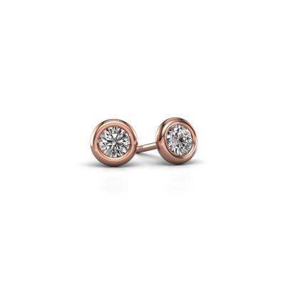 Foto van Oorstekers Lieke RND 375 rosé goud diamant 0.50 crt