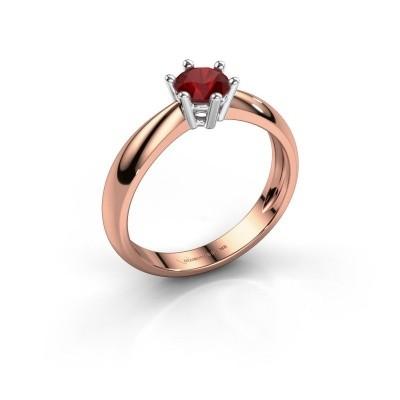 Verlovingsring Fay 585 rosé goud robijn 5 mm