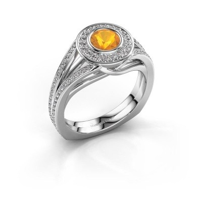 Foto van Ring Kellee 925 zilver citrien 5 mm