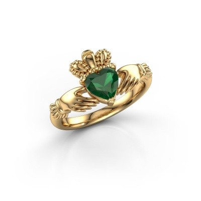 Foto van Ring Claddagh 2 585 goud smaragd 6 mm