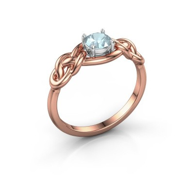Foto van Ring Zoe 585 rosé goud aquamarijn 5 mm