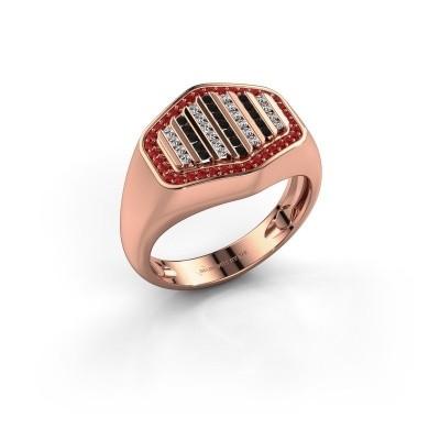 Heren ring Beau 375 rosé goud robijn 1 mm