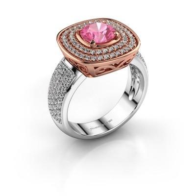Ring Eliana 585 rosé goud roze saffier 6 mm
