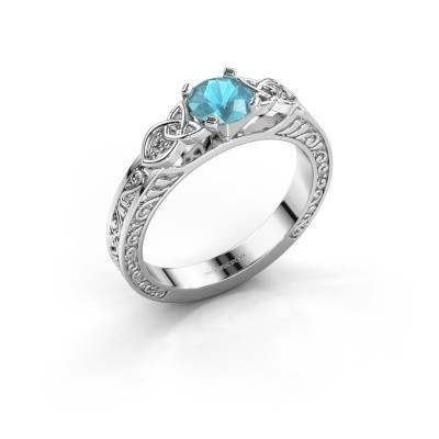 Foto van Verlovingsring Gillian 585 witgoud blauw topaas 5 mm