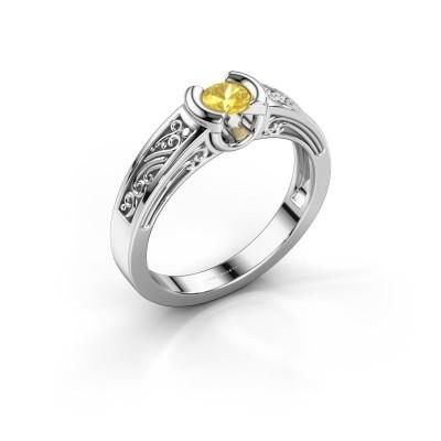 Foto van Ring Elena 925 zilver gele saffier 4 mm