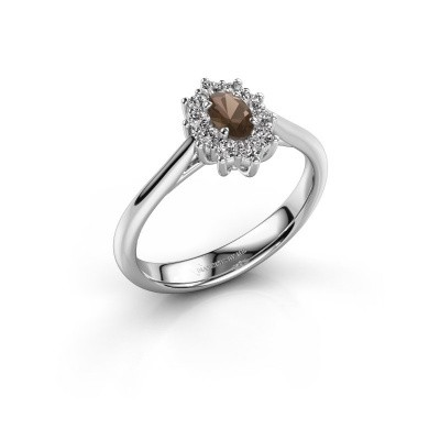 Picture of Engagement ring Leesa 1 950 platinum smokey quartz 5x4 mm