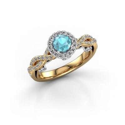 Verlobungsring Madeleine 585 Gold Blau Topas 5 mm