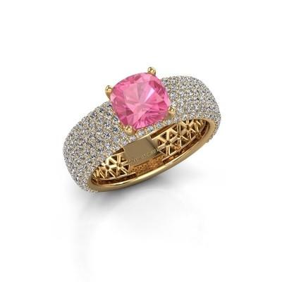 Verlovings ring Darcy 375 goud roze saffier 7 mm
