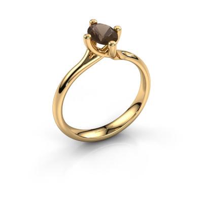 Engagement ring Dewi Oval 585 gold smokey quartz 7x5 mm
