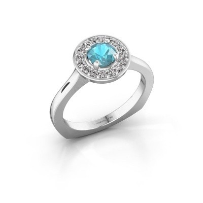 Ring Kanisha 1 585 witgoud blauw topaas 5 mm