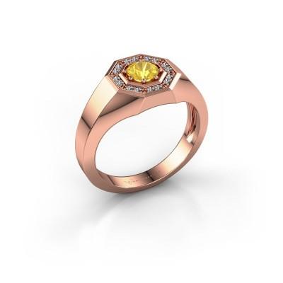 Foto van Heren ring Jaap 375 rosé goud gele saffier 5 mm