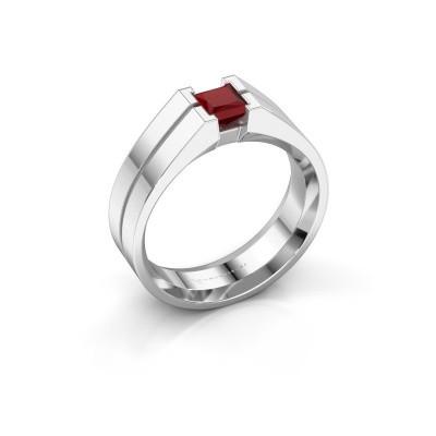 Foto van Heren ring Stefan 925 zilver robijn 4.5 mm