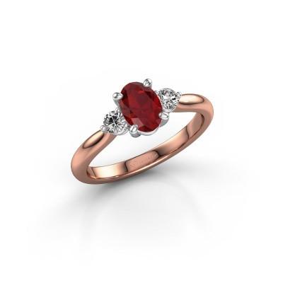 Foto van Verlovingsring Lieselot OVL 585 rosé goud robijn 6.5x4.5 mm