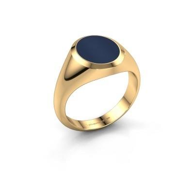 Foto van Zegelring Herman 2 585 goud donker blauw lagensteen 12x10 mm