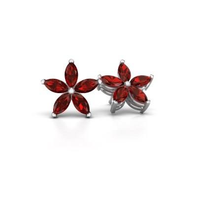 Picture of Stud earrings Sylvana 925 silver garnet 5x2.5 mm