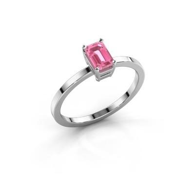 Verlovingsring Denita 1 585 witgoud roze saffier 6x4 mm