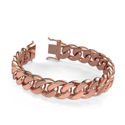 Cuban link armband ±15 mm 375 rosé goud