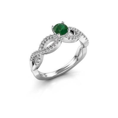 Verlovingsring Hanneke 925 zilver smaragd 4.7 mm