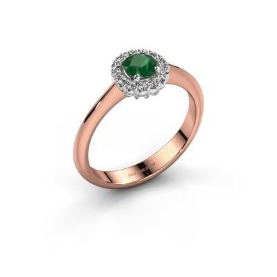 Verlovingsring Anca 585 rosé goud smaragd 4.2 mm