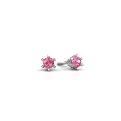 Oorbellen Fay 585 witgoud roze saffier 3.4 mm