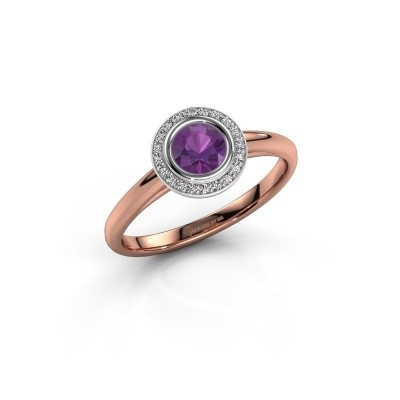 Promise ring Noud 1 RND 585 rose gold amethyst 4.7 mm