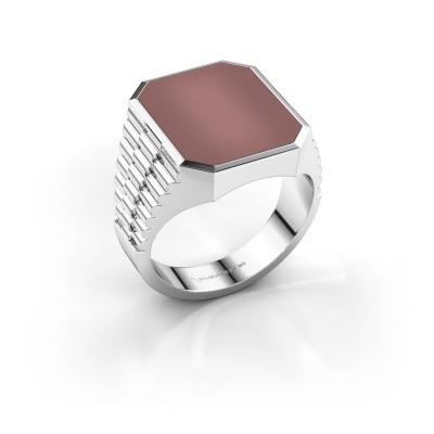 Foto van Rolex stijl ring Brent 4 585 witgoud carneool 16x13 mm