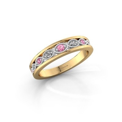 Stackable ring Laine 585 gold pink sapphire 2 mm