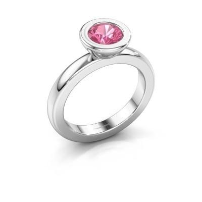 Stapelring Eloise Round 950 platina roze saffier 6 mm