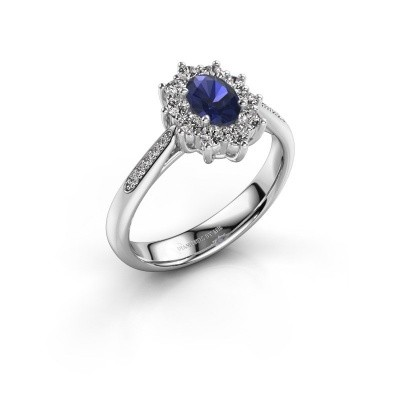 Picture of Engagement ring Leesa 2 585 white gold sapphire 6x4 mm